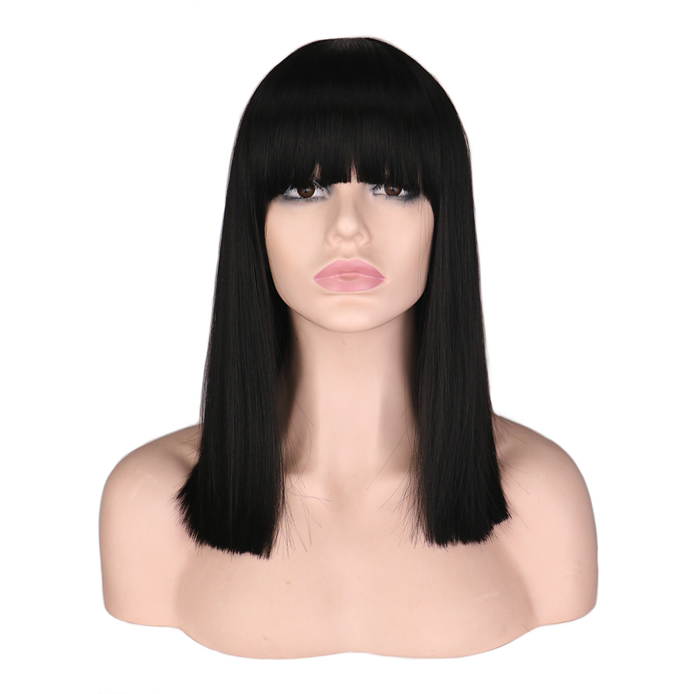QQXCAIW Women Short Neat Bang Bob Style Straight Cosplay Wig Party Costume Natrual Black 40 Cm Synthetic Hair Wigs