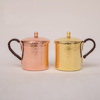 Handmade Copper Cup Thickened Coffe Mug with Lid Creative Water Cup