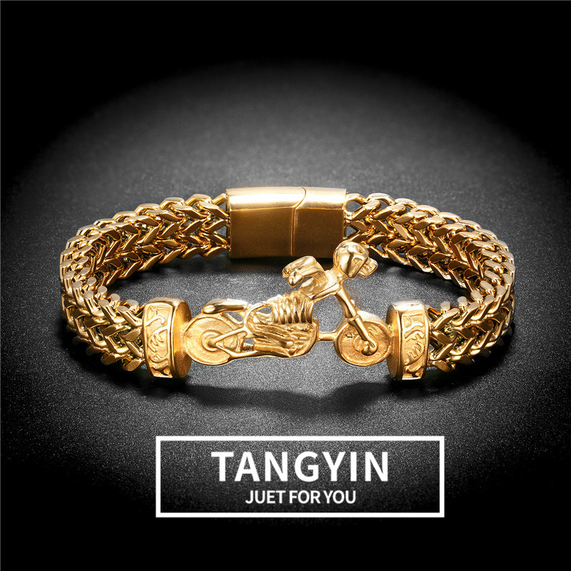 TANGYIN 316 Stainless Steel Double Layer Link Chain Bracelets Men's Hip Hop Motorcycle Hand Chain Bracelet Drop Shipping Jewelry