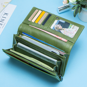 Image 2 - Contacts Fashion Women Wallets With Card Holder Genuine Leather Long Clutch Brand Design Female Coin Purses Cell Phone Pocket