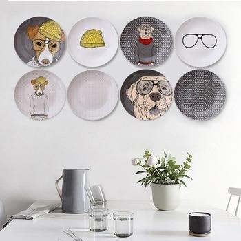 Placas decorativas de cerámica de animales de estilo nórdico moderno de 10 pulgadas, fondo decorativo creativo para el hogar, platos colgantes para la pared