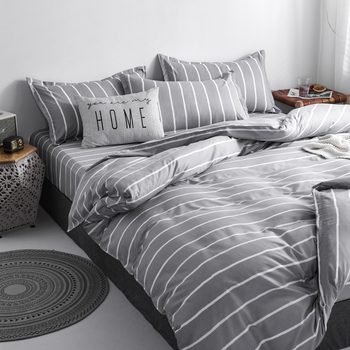 Classic Bedding Set Grey With White Stripes