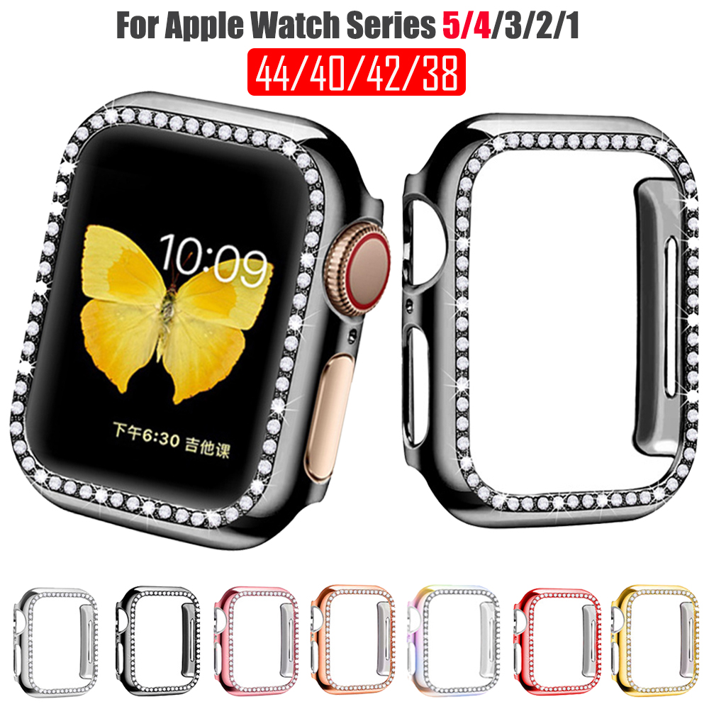 Diamond PC Case Cover for Apple Watch Band 5 4 3 2 1 Protect Bumper iWatch Case for Apple Watch Accessories 44mm 40mm 42m 38mm