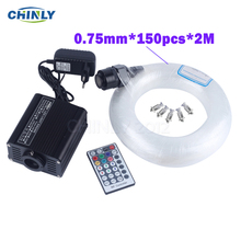 16W RGBW Fiber optic light Starry Sky Effect Lights Engine RF Remote Control 150pcs 0.75mm 2M LED Optical Fiber Ceiling lighting
