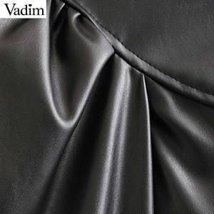 Image 5 - Vadim 女性エレガントな pu レザーブラウスロングランタンターンダウン襟シャツ女性の基本的なシックなトップス blusas LB738