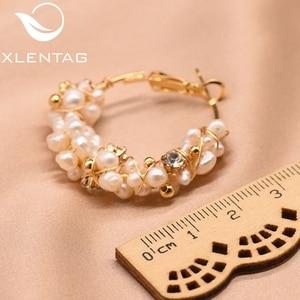 Image 5 - XlentAg 100% Natural Fresh Water Pearl Hoop Earrings For Women Wedding Engagement Handmade Fine Jewelry Aros Mujer Oreja GE0870D