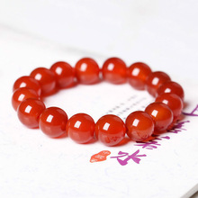 Red Carnelian Coral Natural Stone Beads Elastic Beaded Brace