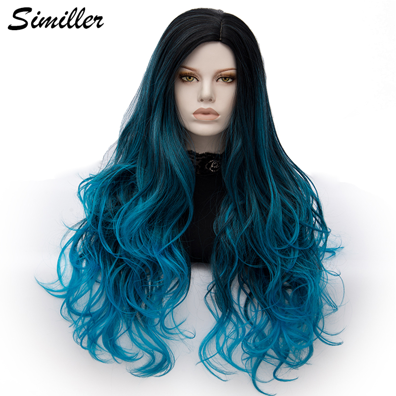 Similler Women Long Curly Synthetic Wig Black Root Blue Ombre Cosplay Wigs Heat Resistance Fiber