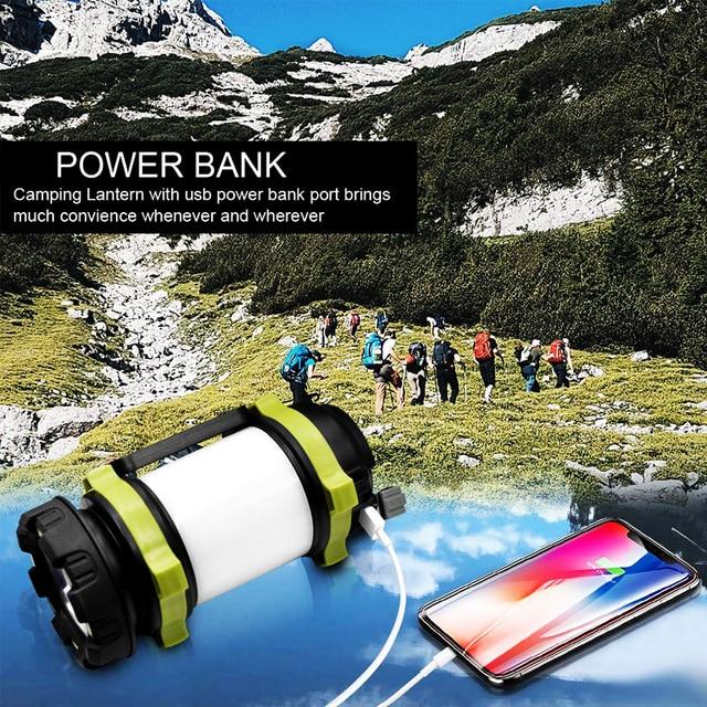 Dropshipping Portable LED Camping Lantern Work Light Outdoor Tent Light Handheld Flashlight USB Rechargeable Port Spotlight 5