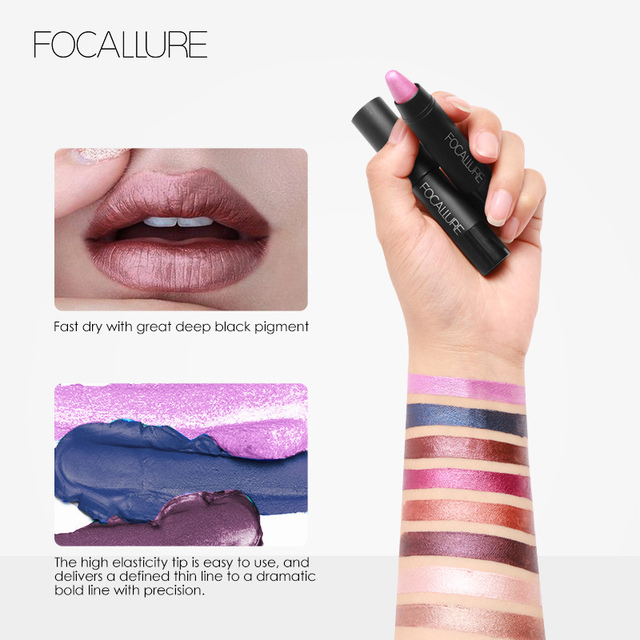 FOCALLURE Makeup Colorful Waterproof Shimmer Lipstick Matte Lipstick Metal Style  Cosmetic 4