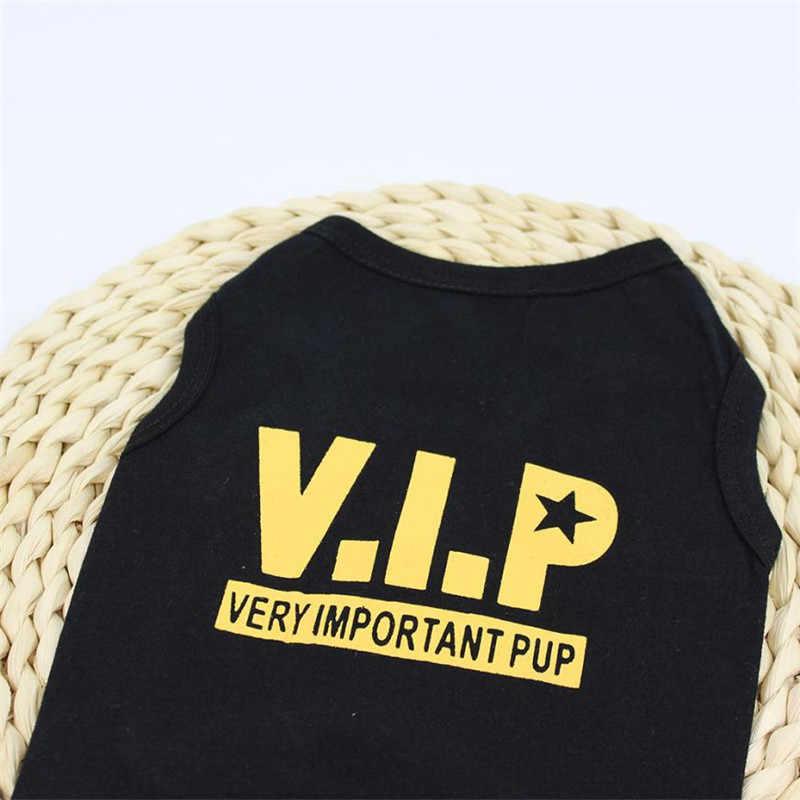 Gatinho preto T Camisa Do Cão Colete Verão Pequeno Bonito do Filhote de Cachorro Traje Amarelo Impressão VIP Volta Roupas Unissex Roupas para Cães Roupa do Doggy desgaste # B5