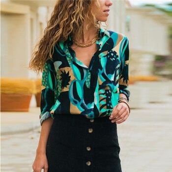 women shirts blouse women plus size chiffon blouse flower/strip printed loose long sleeve 2019 summer new full shirt chemisier f 4