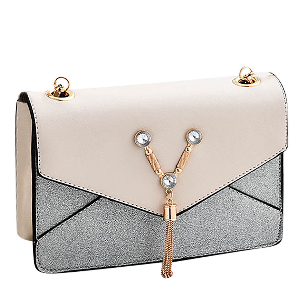 MUQGEW Bag Tassel Crossbody-Shoulder Solid Women Bolsa Chain Scrub-Flap Patchwork Crystal