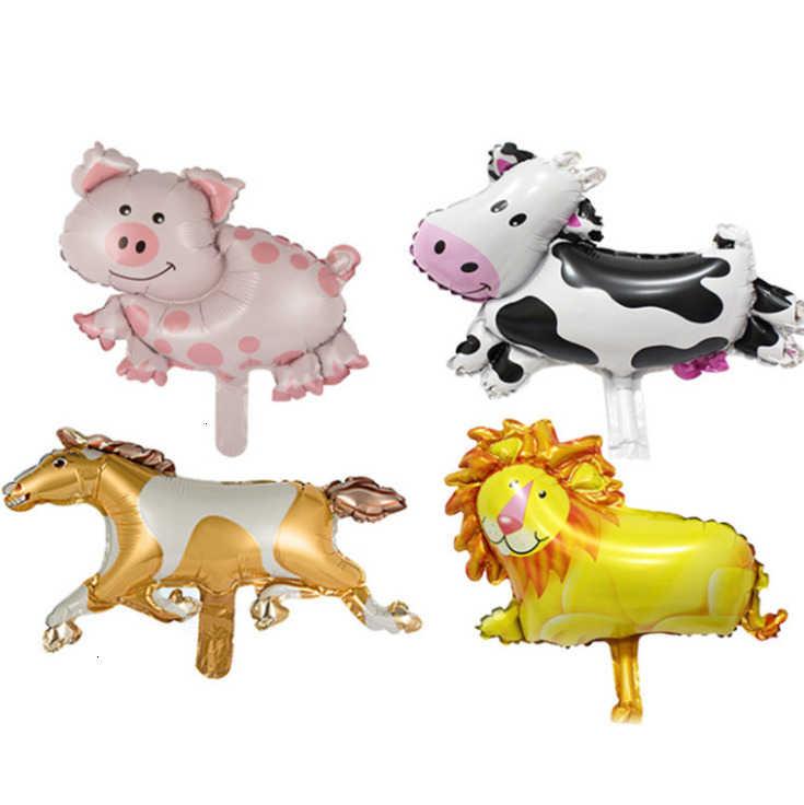 1 セットファーム動物箔風船牛豚ケーキトッパーラッパー馬ペットウォーキングバナー子供のギフト誕生日パーティーの装飾用品