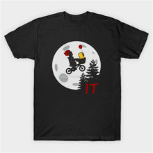 Gli uomini di cotone tshirt ET Parodia It Stephen King Si Pennywise E Georgia Horror Divertente Nero T-Shirt di Moda Tee Shirt(China)