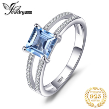 JewelryPalace Princess Genuine Blue Topaz Ring 925 Sterling Silver Rings for Women Engagement Ring Silver 925 Gemstones Jewelry