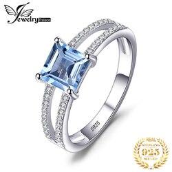 Jewelrypalace princesa genuíno azul topázio anel 925 prata esterlina anéis para mulheres anel de noivado prata 925 pedras preciosas jóias