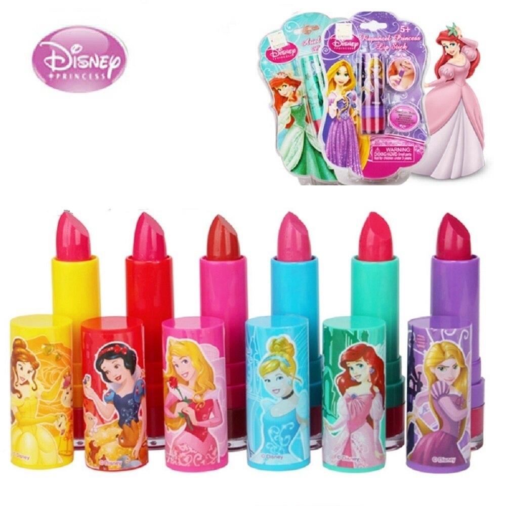 NEUE 6 Farben Disney Lippenstift Spielzeug Für Mädchen kinder Kosmetik Sicher Nicht giftig Feuchtigkeits Lippenstift Baby Lip Gloss kinder Geschenk