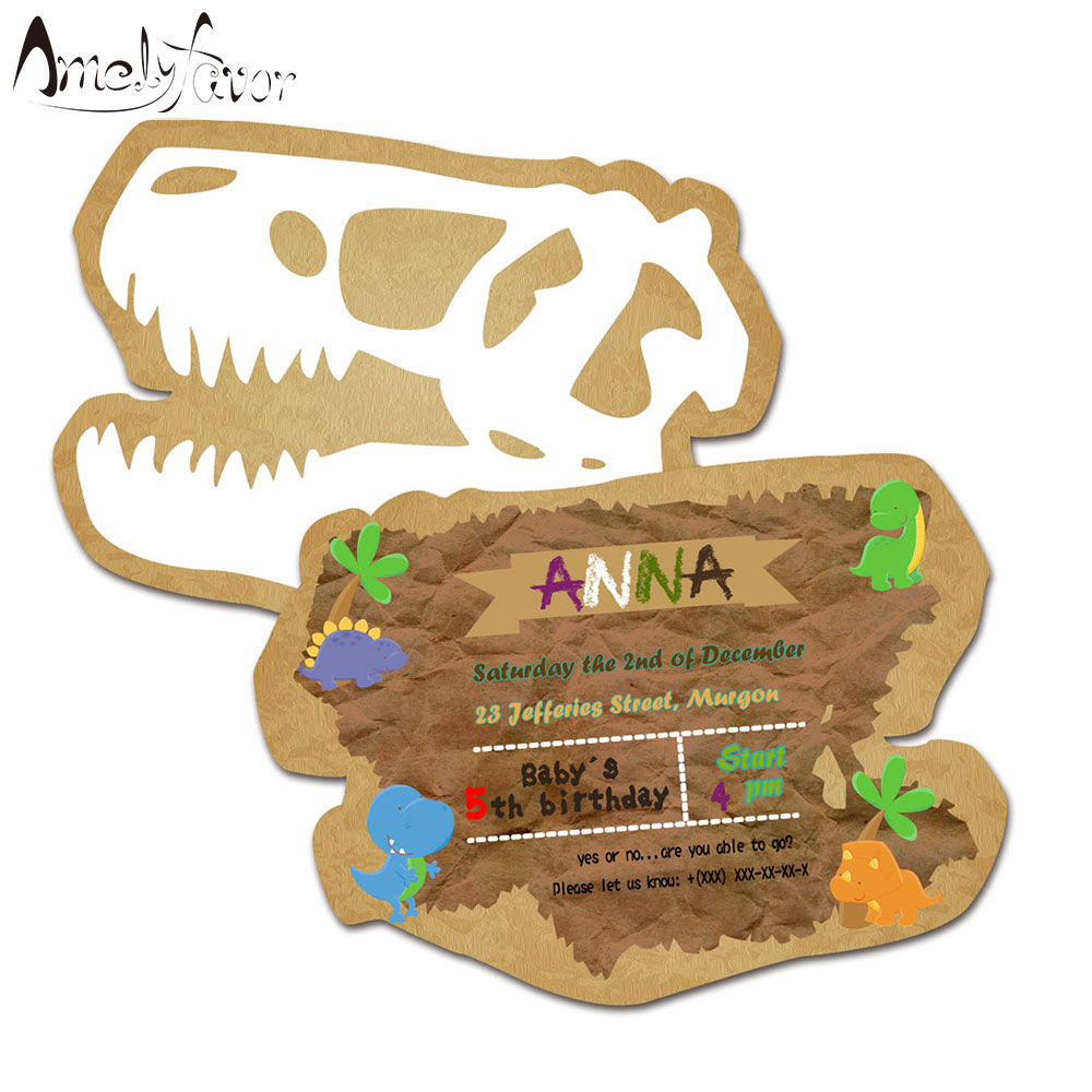 Dinosaur Theme Party <font><b>Invitation</b></font> <font><b>Card</b></font> Birthday Event Ancient Animals Party Decorations Supplies <font><b>Blank</b></font> Custom-made <font><b>Invitations</b></font> image