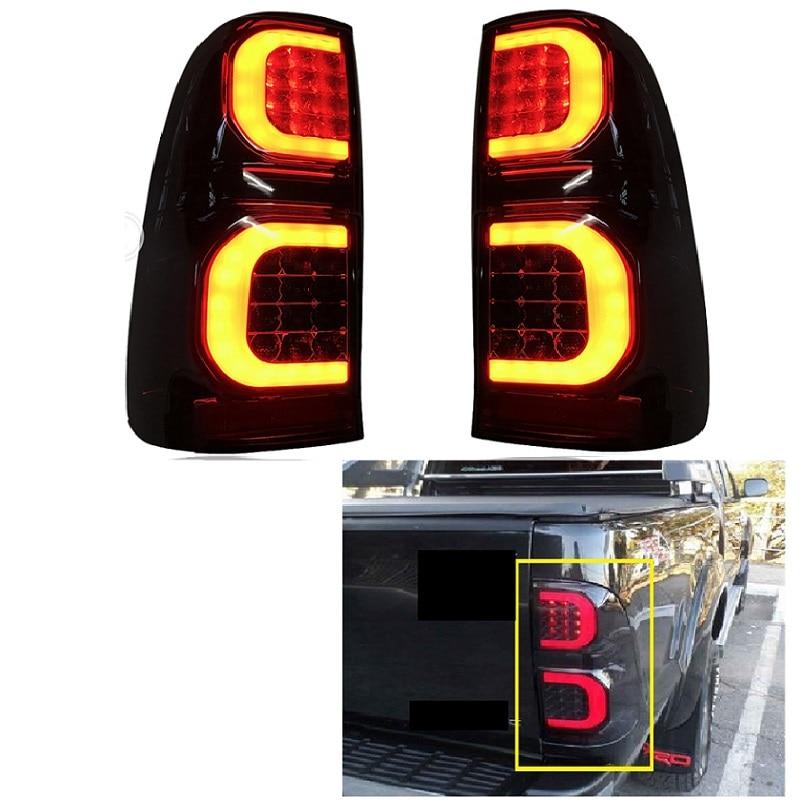 LED REAR LIGHT TAIL LAMP FIT FOT HILUX VIGO 2005 2014 CAR LED BRAKE LIGHTS REAR LAMP BLACK LIGHTING CAR ACCESSIRIES AUTO LAMPCar Light Assembly   -
