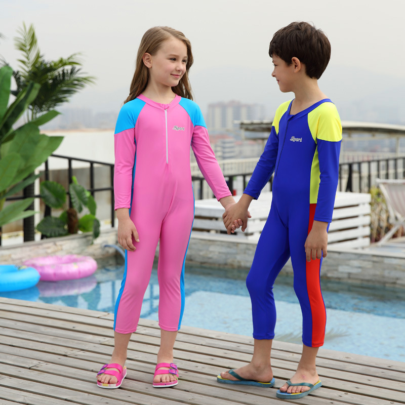 18 New Style Hot Sales One-piece Swimming Suit Tight Ultra-stretch Long Sleeve Trousers Small Stand Collar Sun-resistant For Bot