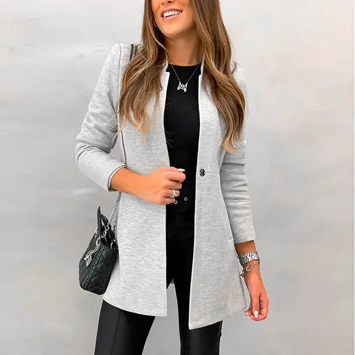 Elegant Women Blazer Suits 2020 New Autumn Winter Notched Collar Long Sleeve Slim Suit Jacket Office Ladies Black Gray Suit Coat
