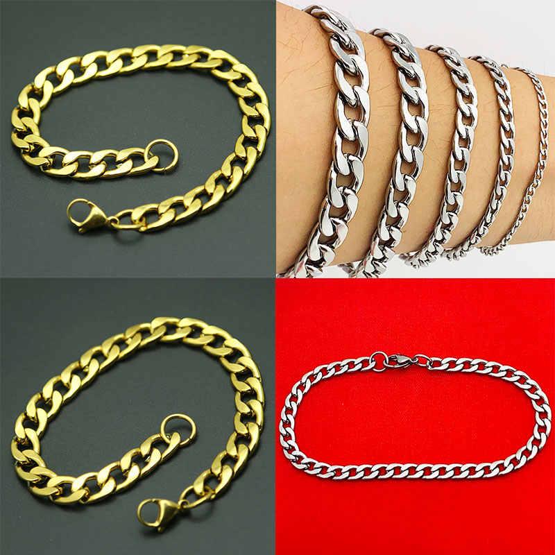 Bracelet de chaîne de lien cubain de bordure d'or argenté populaire Bracelets des femmes des hommes d'acier inoxydable bijoux d'amya pour les hommes