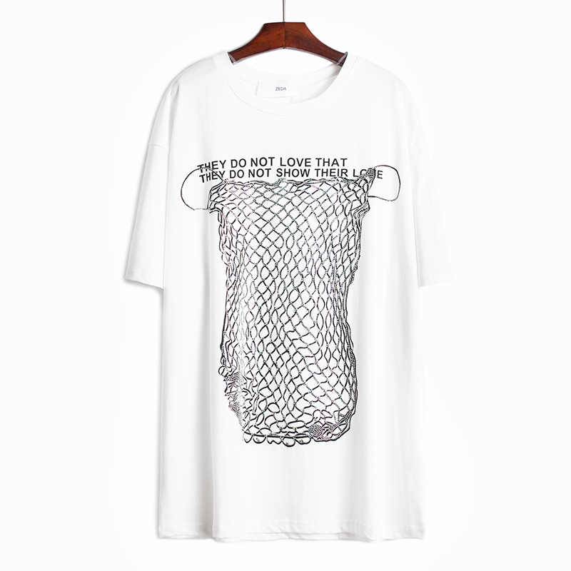 [EAM] Women Gray Letter Printed Sequins Split Big Size Long T-shirt New Round Neck Half Sleeve  Fashion Spring Summer 2020 1W348 3