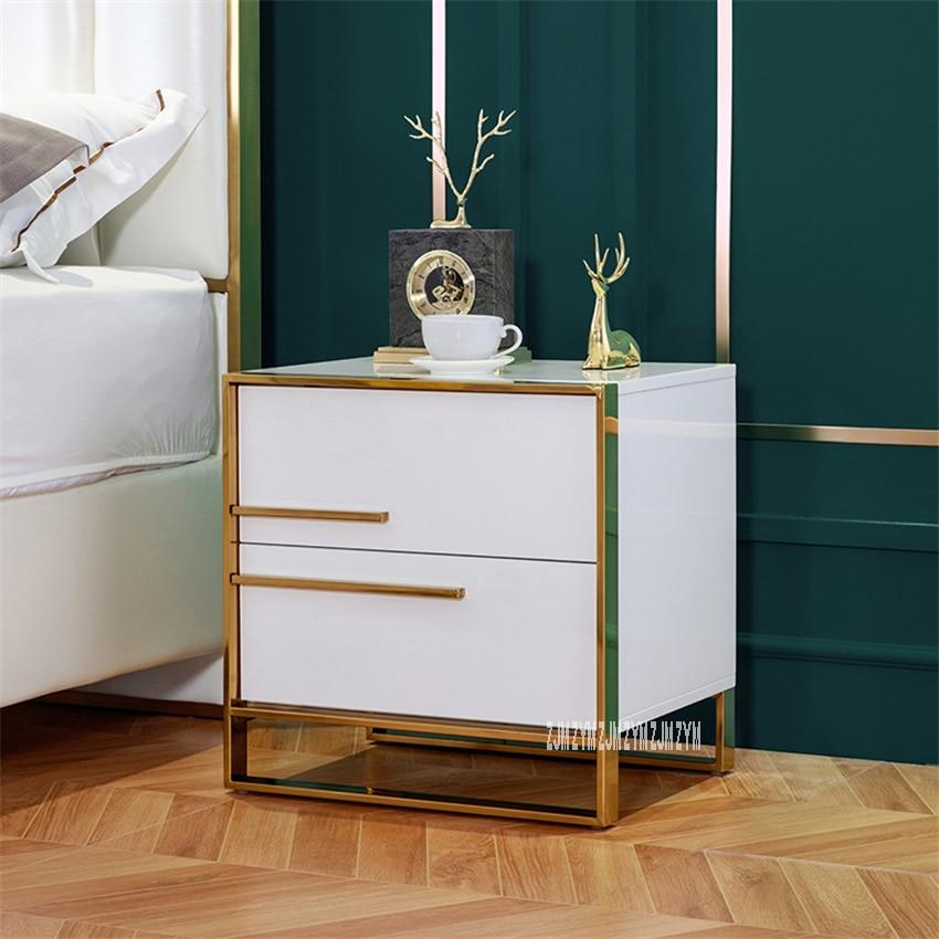 912 Simple Modern Bedside Cupboard Light Luxury Nightstand Bedroom Storage Cabinet Night Table Baking Finish Bedside Locker