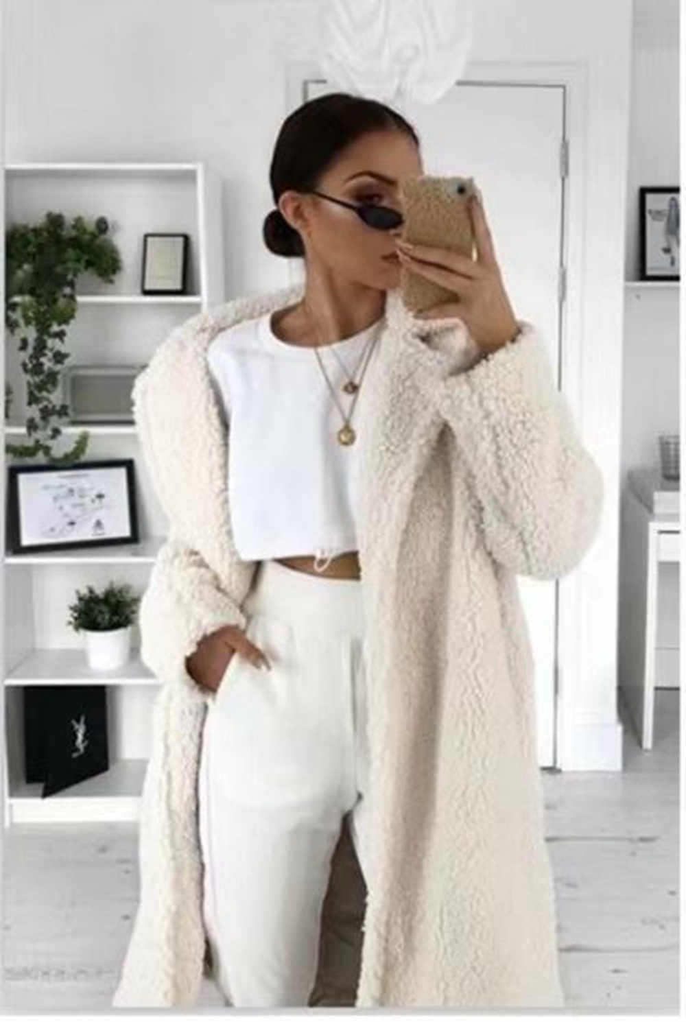 Oeak Autumn Winter Fur Women Coat 2019 Casual Loose Solid Long Teddy Coat Female Vintage Thick Faux Fur Jackets Plush Overcoat