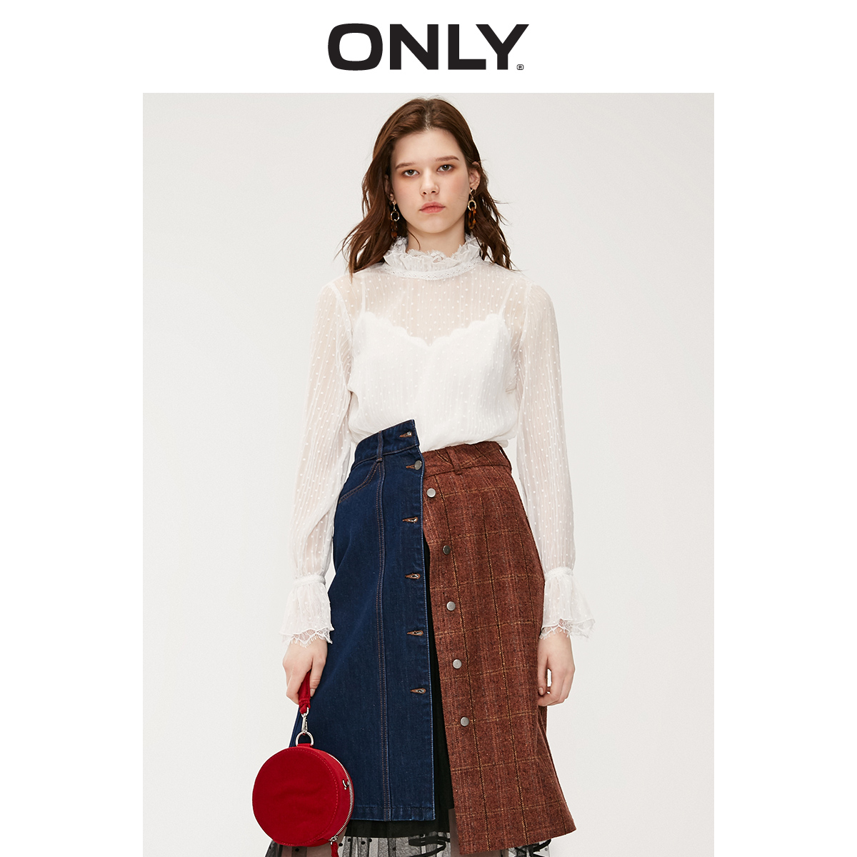 ONLY Women's Loose Fit Two-piece Lace Chiffon Shirt | 119151521