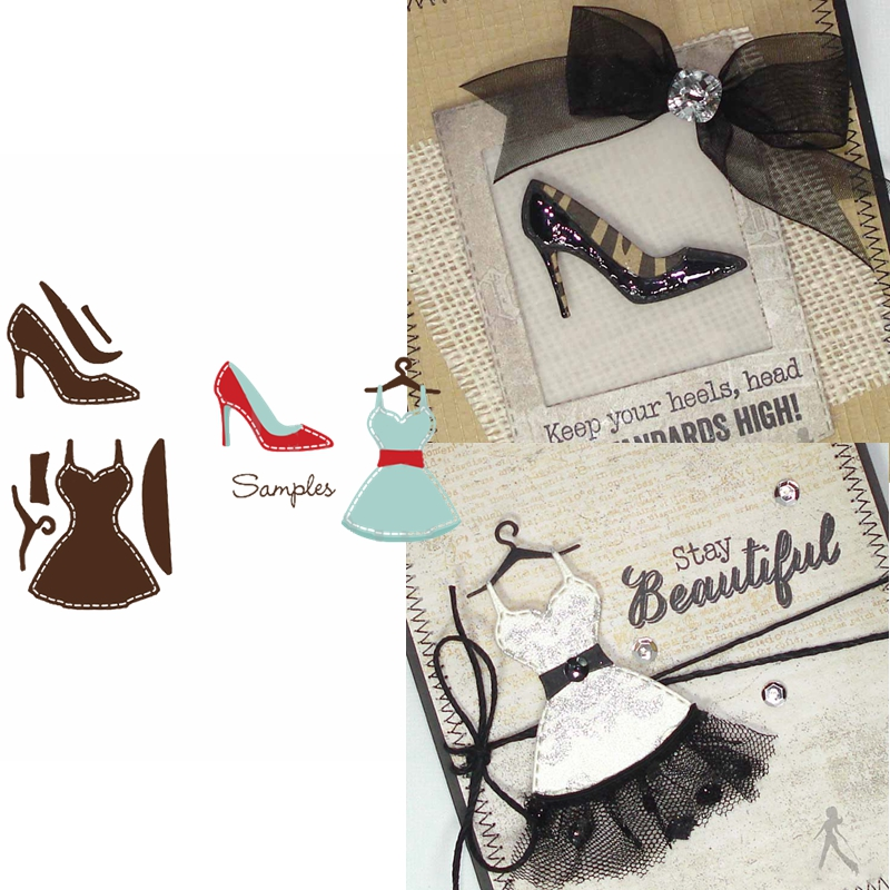 Fashion Dress&High Heels Die Cuts For Card Making High Heeled Shoes&Gown Dies Scrapbooking Metal Cutting Dies New 2020