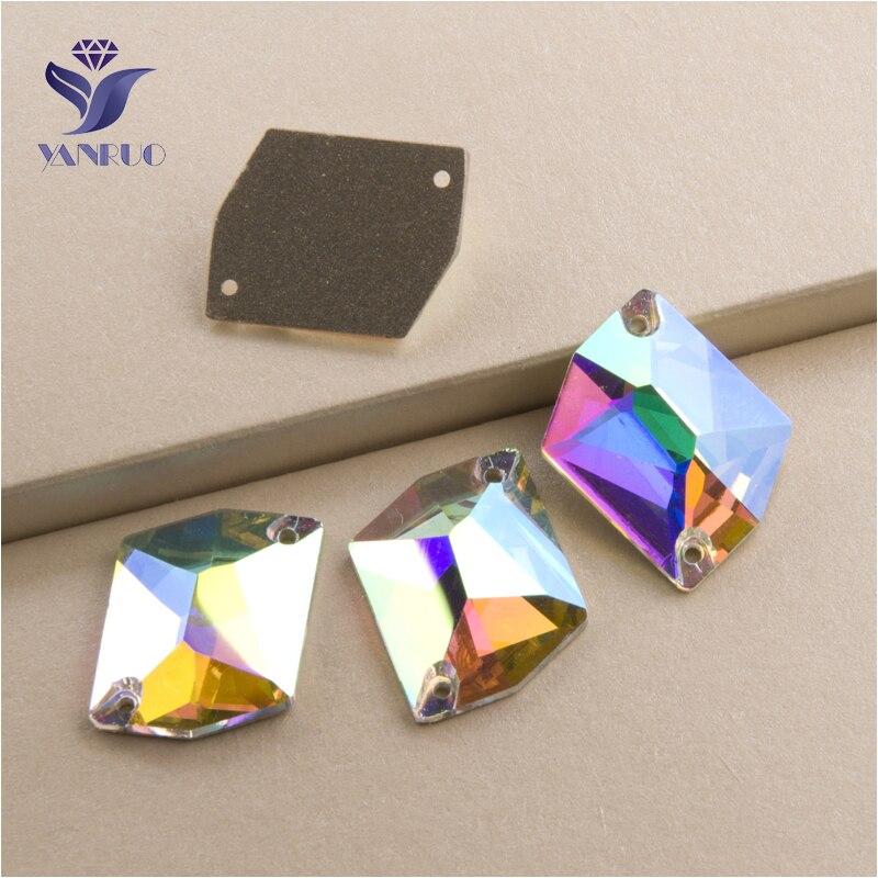 YANRUO 3265 todos los tamaños AB cósmico piedras para coser cristal plano costura strass para la decoración del vestido-in Diamante de imitación from Hogar y Mascotas on AliExpress