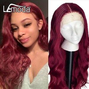 Rouge 99J perruque de cheveux humains Ombre vague de corps avant de lacet perruques 13X4 pré plumé Lemoda cheveux perruque 150% densité Remy