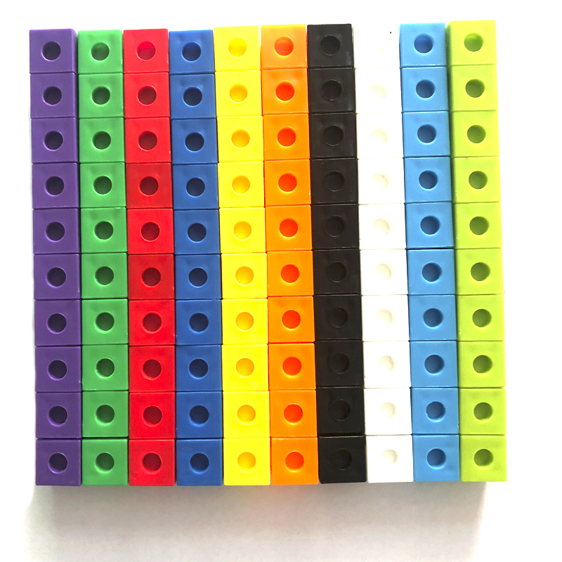 Multilink Linking Counting Blocks To Teaching Math Manipulative Kids Early Education Toy 100Pcs 10 Colors Connecting Blocks Toys