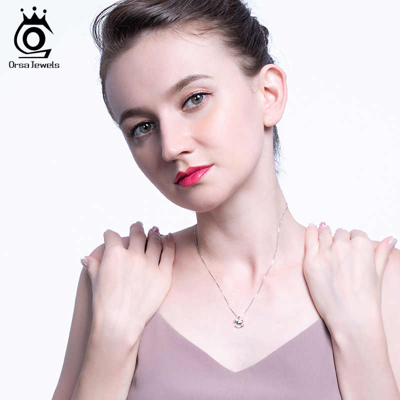 ORSA JEWELS S925 Carousel Shape Pendant Necklace Childhood Carousel Pendant With Clear AAAA Zircon Unique Simple Jewelry SN179