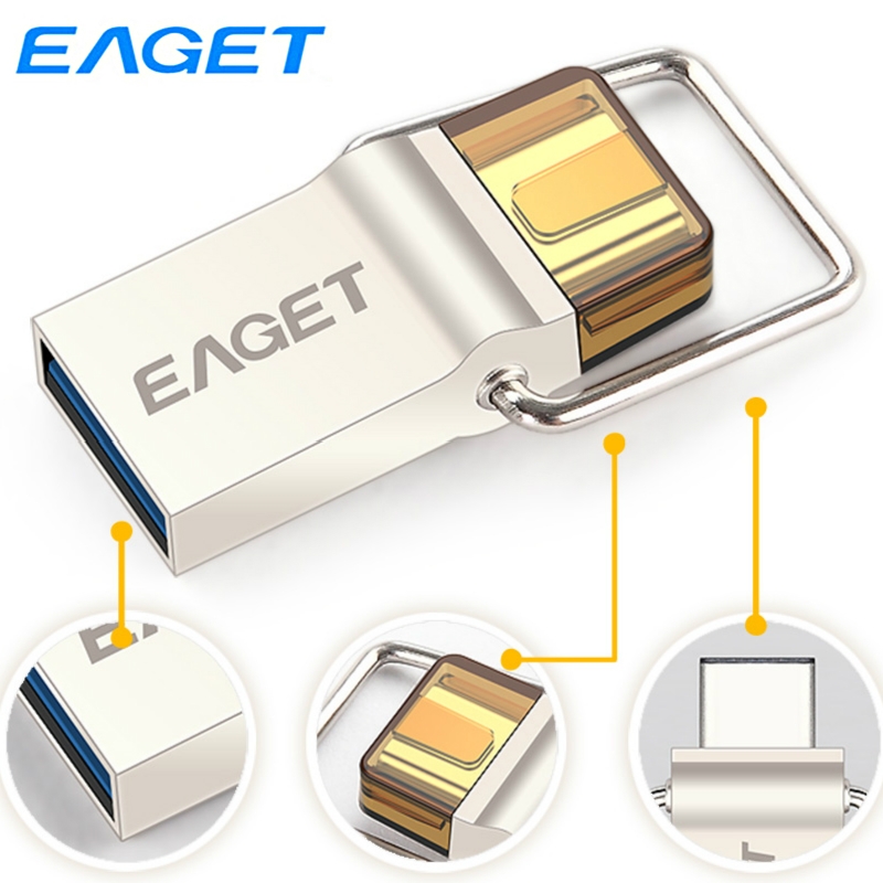 Eaget Type-C USB 3.0 Flash Drive 64GB 32G 16GB Pen Drive Memory Stick OTG U Disk For Android Phone Laptop Macbook Tablet PC CU10