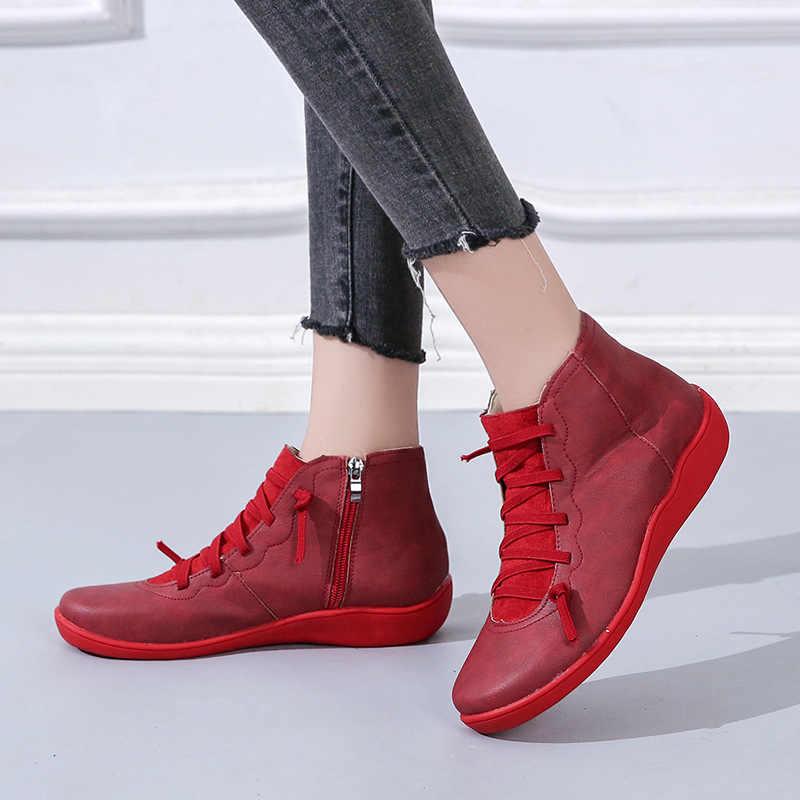 נשים מגפי קרסול Socofy עור תחרה עד נעלי נשים גדול גודל צלב רצועת דירות חורף 2019 מגפי סתיו נעלי נשים קצר