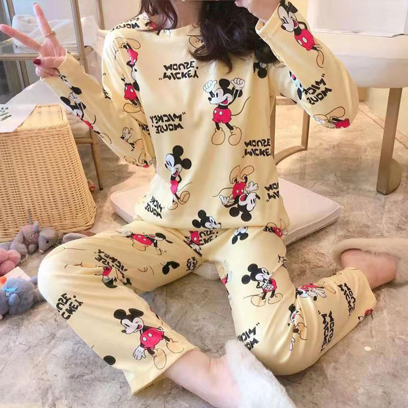 Spring And Autumn New Long-Sleeved Pants Pajamas Female Autumn Korean Cute Cartoon Less Ms. Tracksuit Set