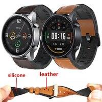 Correa de reloj para Xiaomi MI, banda de cuero genuino de 22mm, de silicona, de Color