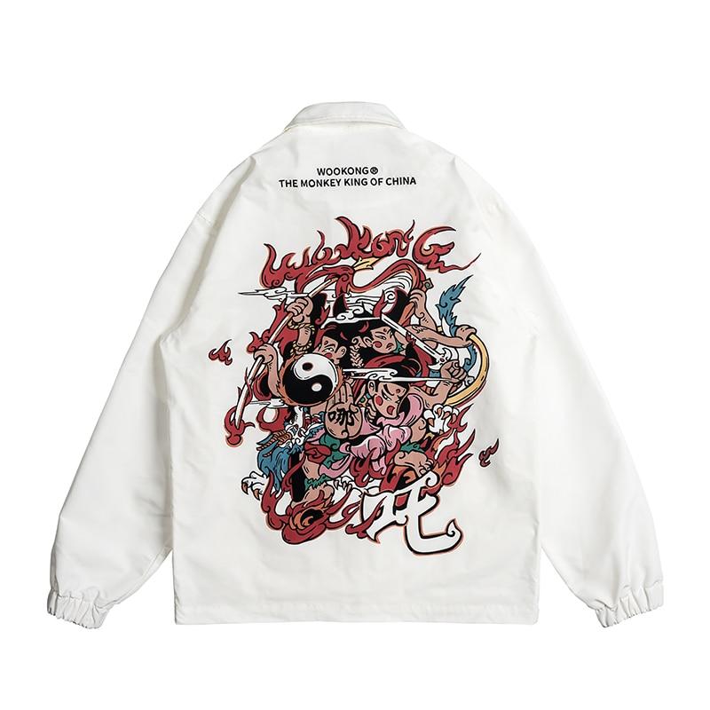 WOOKONG бренд INS куртки для мужчин 2019 мужчин s Уличная Забавный принт ветровка мужская корейская мода осенние куртки пальто тонкая секция