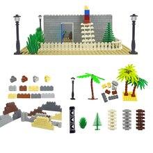 Bloques de construcción de arma militar, accesorios de ciudad, flor y arbusto verde, hierba, árbol, escalera, juguetes, Pilar, ciudad, pared, Compatible con todas las marcas