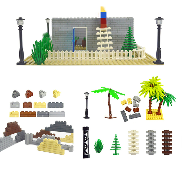 City Accessories Building Blocks Military Weapon Green Bush Flower Grass Tree ladder Toys Pillar City wall Compatible All Brands