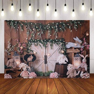 Image 2 - Mehofond Photography Background Vintage Wood Spring Happy Easter Rabbit Baby Shower Birthday Party Portrait Photo Backdrop Props