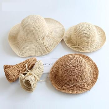 2020 nowe dziewczyny ręcznie wykonane kapelusz słońce dzieci lato rafia słomkowy kapelusz duże rondo czapka plażowa składany oddychający lato kapelusz rodzic-dziecko tanie i dobre opinie BOBOTCNUNU Słomy Dopasowana dla dziewczynek Stałe 0-3 miesięcy Dzieci w wieku 4-6 miesięcy 7-9 miesięcy 10-12 miesięcy