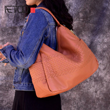 AETOO genuine leather vintage fashion handmade retro weaving single shoulder bag large real women handbag