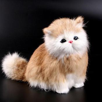 Elektroniczna zabawka pluszowa imitacja kota lalka imitacja zabawka w kształcie zwierzątka z funkcją dźwięku miau dziecięce słodkie zwierzątko Model zabawkowy tanie i dobre opinie HobbyLane Pp bawełna 5-7 lat other Zwierzęta i Natura