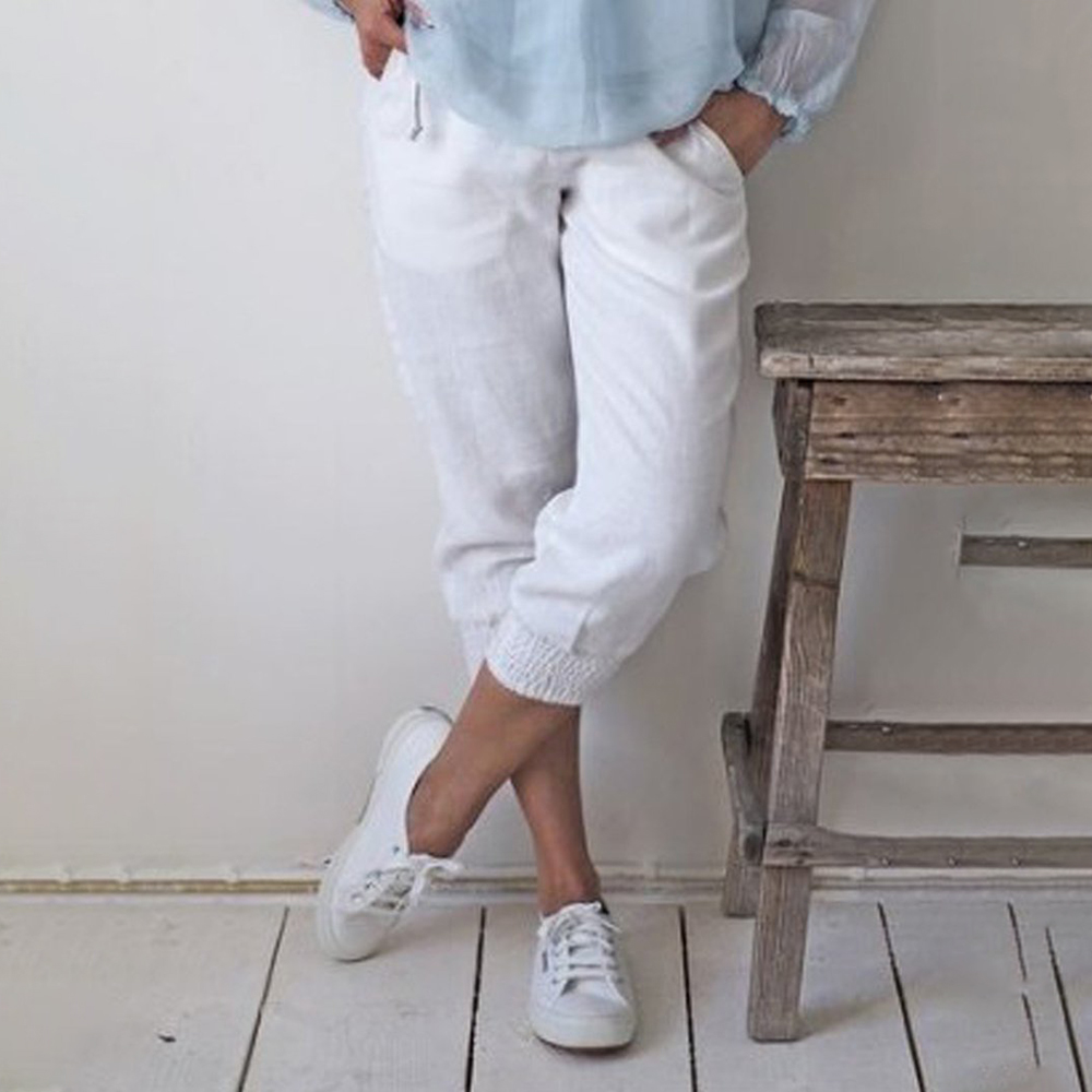LITTHING White Women Cotton Pants Short Pants Capris Casual Loose Elastic Waist Female Plus Size Summer Calf-length Women Pants