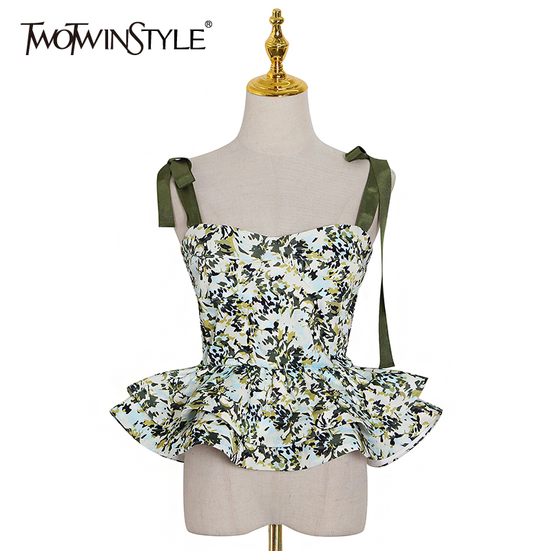 TWOTWINSTYLE Causal Print Women Vest Square Collar Spaghetti Strap Sleeveless Hit Color Ruffles Vests Female Fashion Clothes New