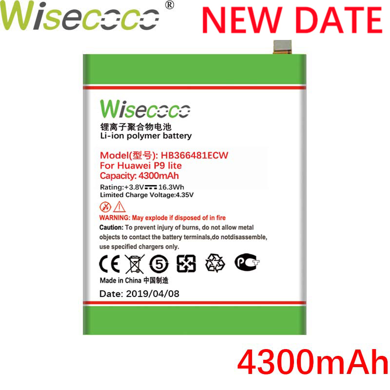 Wisecoco HB366481ECW 4300mAh New Battery For Huawei P9 5C P9 G9 P10 Lite G9 Honor 8 Honor 8 Lite Y6 II EVA AL00 AL10 L09 TL00 in Mobile Phone Batteries from Cellphones Telecommunications